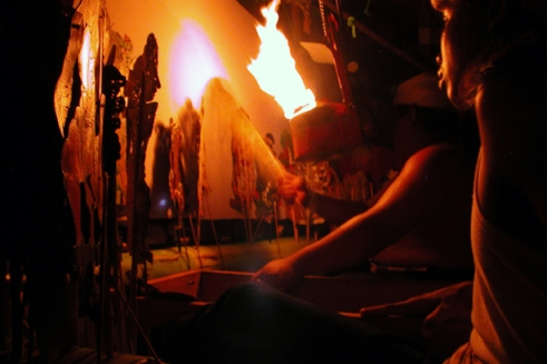 Dalang Made, or puppeteer, performs a traditional wayang kulit shadow puppet theater at Dalem Ped. He has been dedicating himself here for the last 30 years to serve Ratu Gede Macaling through his shadow puppet theater. (Photo by Maria Bakkalapulo)