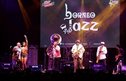 Dirty Dozen Brass Band on stage at Borneo Jazz. Photo courtesy of the Sarawak Tourism Board.